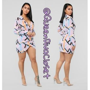 Fashion Nova Dresses - Groovy Mama lavender lilac geo print mini dress XL